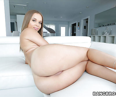 Solo girl Liza Rowe exposes flat chest and nice round buttocks