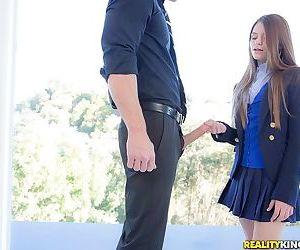 Naughty schoolgirl in uniform makes the grade on her knees
