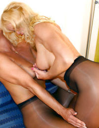 Older blonde dykes in nylons and heels undress each other for sex