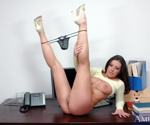 Tempting office babe Penny Flame revealing sexy juggs and booty