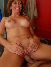 Fit mature woman Mikela eats cums from hand after jacking off cock