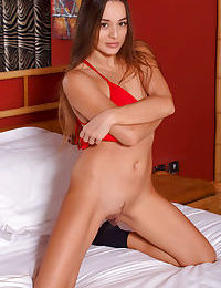 Sweet Dominika A spreading in socks to show close up view of shaved pussy