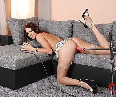 Stunning brunette vave gets her pussy drilled by fucking machine