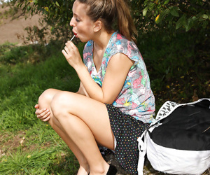 Outdoor masturbating action from a razor-sharp teen pet Nessy
