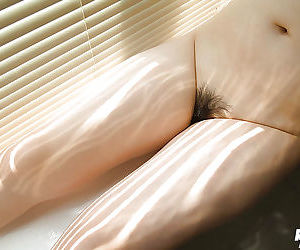 Curvy asian babe with hairy poon Hanano Nono going downhill off say no to lingerie