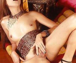 Solo masturbating session from a marvelous Asian babe with her toys