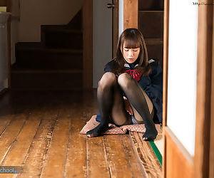 Young Asian schoolgirl demolishing her malicious pantyhose to masturbate