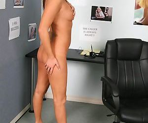 Sexy office babe Kiara Diane exposing her ripe tits and young pussy