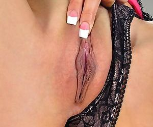 Brunette Arial Rose in sexy lingerie showing wet shaved pussy & toying ass