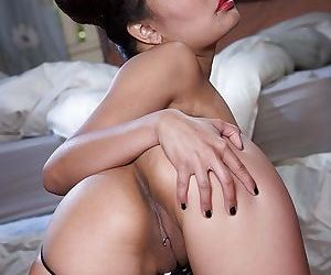 Steamy thai babe in jeans shorts Annie Cruz uncovering her petite curves