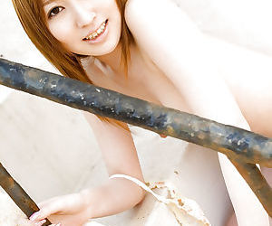 Stunning asian babe Miyu Nakai stripping off her clothes outdoor