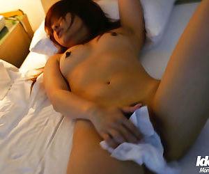 Sweet asian newborn Miyu Sugiura posing naked coupled with diffusion her fingertips