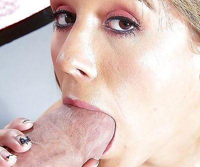 Latina pornstar Ella Milano taking selfie while delivering ball licking BJ