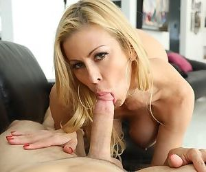 Hot older woman Alexis Fawx sucks on a cock and ball sac until the jizz flows