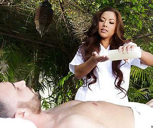 Young Asian girls Kalina Ryu and Morgan Lee encounter massive cock outdoors