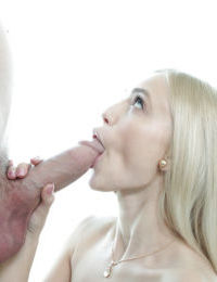 Young blonde girl Alex Grey taking facial cumshot after blowing big dick