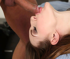 Young girl Ariadna deepthroats a cock and licks ball sac for facial cumshot