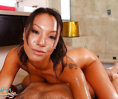 Ravishing asian masseuse has some oily fun with her hung client POV