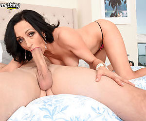 Mature Karma Karson throats young hammer in sloppy manners