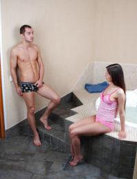 Cute teen girl Monica F gets fucked by her boyfriend in the bath
