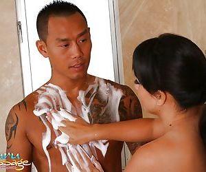 Sensual Asian woman Kayme Kai drains that cock and drinks semen