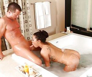 Hot asian chick gives a soapy massage turning into blow and titjob
