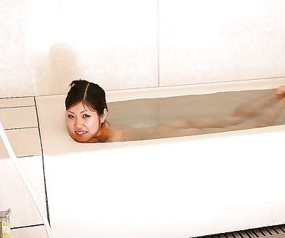 Playful asian teen with slippy curves Mai Tutida posing nude after bath