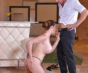 Busty beauty Cathy Heaven takes good care of cock in sloppy ways