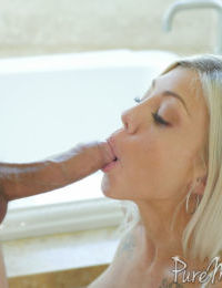 Blond chick Karson Kennedy sucks the jizz from a cock with her talented tongue