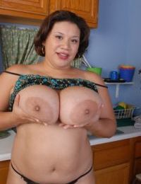 Pleasing fatty Monet wiggles her big fat ass in thong panties