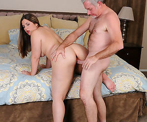 Young fatty Phoenix Wild strips to suck oldman cock and fuck doggystyle