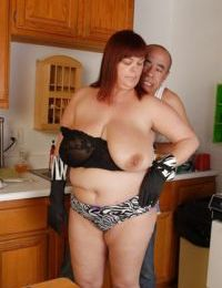 Fat chick Josie is banging hard with this bald man in the kitchen
