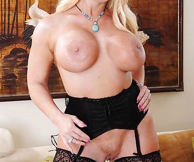 Curvaceous MILF Alura Jenson undressing and spreading her pussy lips