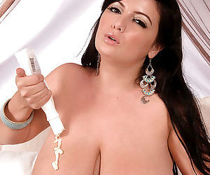 Overweight European mom Arianna Sinn rubbing lotion into exposed hooters
