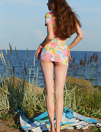 Sexy redhead Nicole K suns her shaved pussy naked at the beach