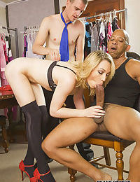 Shapely slut Lily LaBeau climbs on interracial BBC & sucks while subby watches