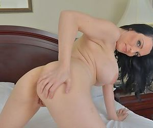 Chesty brunette mom Stacy Ray spreading shaved vagina in high heels