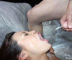 Big titted Asian girls endure rough anal before being cum coated