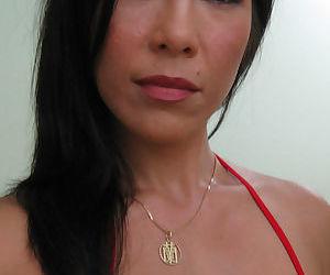 Asian female Lisa Ly takes topless selfies in bathroom mirror