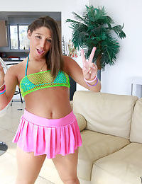 Teen cutie Abella Danger flashing panties and twerking outdoors