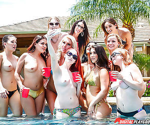 Party girl Eva Lovia gives blowjob by swimming pool while girlfriends watch