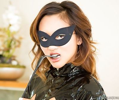 Asian pornstar Alina Li gets banged wearing a mask and latex