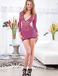 Hot teen girl Jillian Janson peels off her revealing dress to model naked