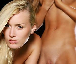 Young blonde lesbians Liza B & Inga C grinding beside pool at night