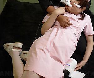 Lusty Japanese nurse b like Honami Isshiki mouth fucked prevalent a gangbang