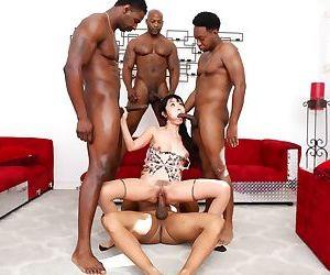 Legendary Asian slut Marica Hase enjoying an interracial gangbang