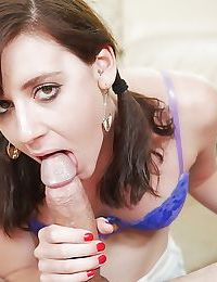 Teen girl in pigtails Audrey Holiday sucking thick penis Gonzo style
