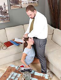 Teen ball licker Renee Roulette deepthroating big cock during blowjob