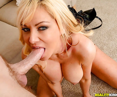Busty blonde MILF Sasha Sean licking and biting big dick while giving blowjob