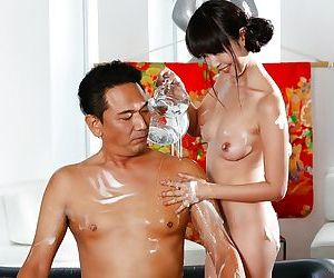 Asian man receives pinch ending massage from Japanese Geisha Marica Hase